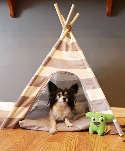 Cozy striped dog tent