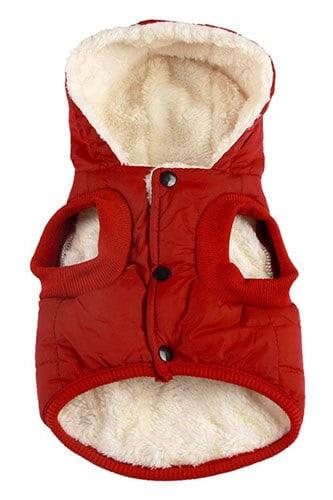 Vecomfy Fleece Lining Hooded Extra Warm Dog Jacket